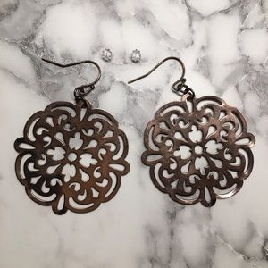 Accessories - Copper/gold colored round dangle earrings
